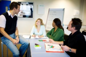 Adult learners in class